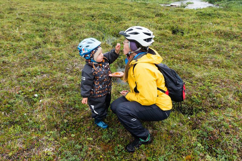 мама и ребенок едят морошку в тундре в августе