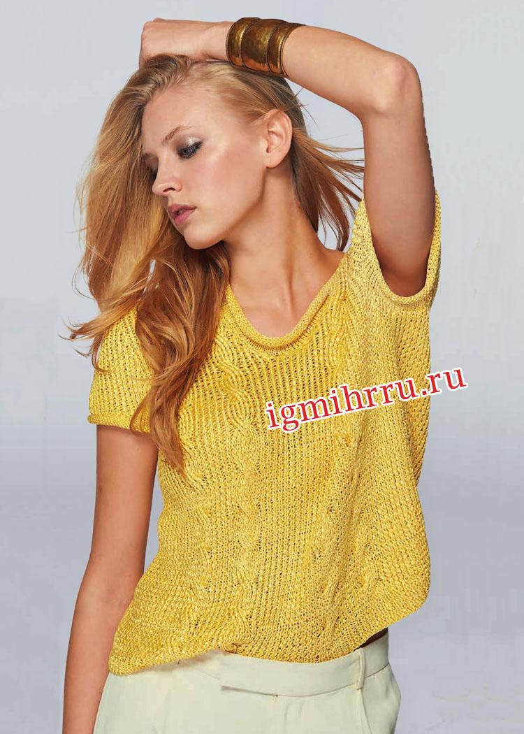 Желтый летний пуловер с косами. Вязание спицами