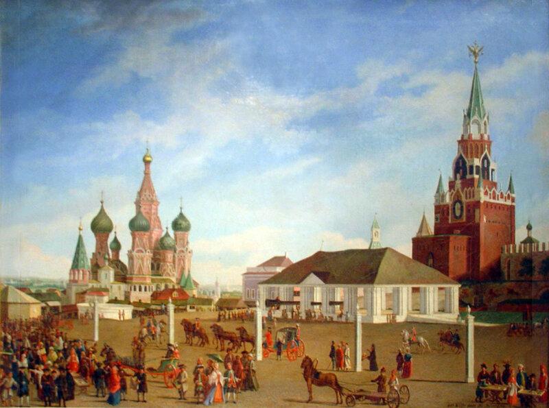 452174 Вид части Красной площади в сторону Покровского собора и Спасских ворот Кремля 1790-е Гильфердинг, Фридрих.jpg