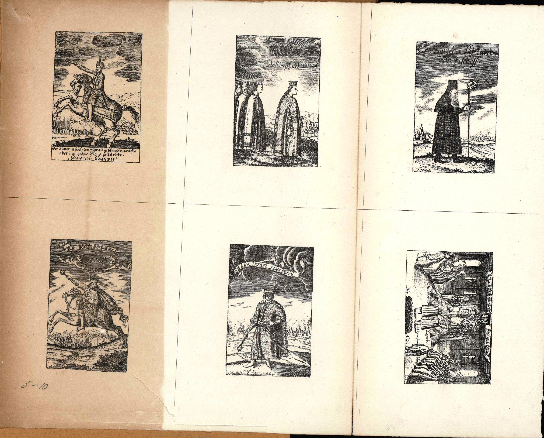 5-10. Шесть картинок из книги Schleussing'а: Derer beyden Czaren in Russland