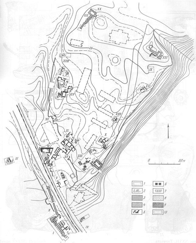 Городище Тиритака, схема раскопа