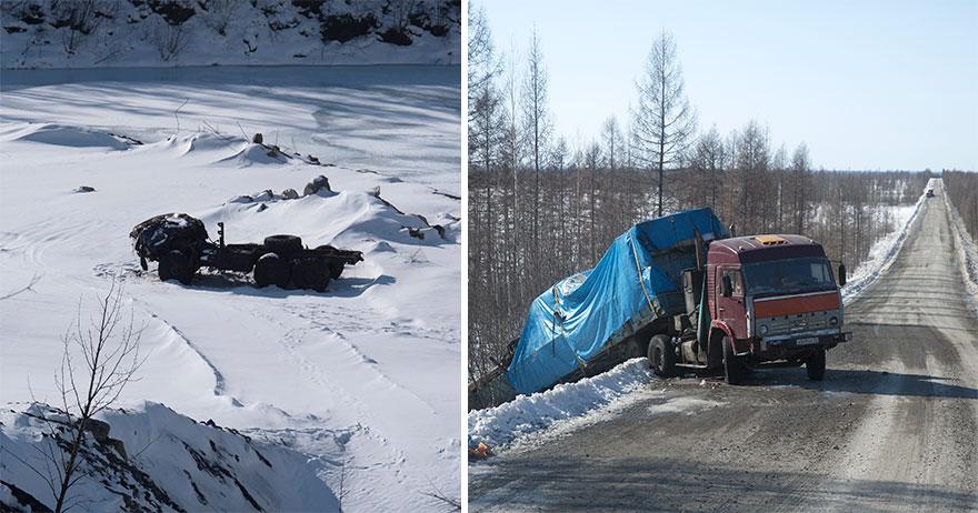 На Колымской трассе безопасность — вещь относительная. На фотографии слева грузовик сорвался с обрыв