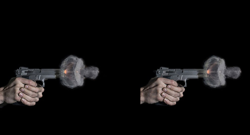 Облако газов при выстреле: