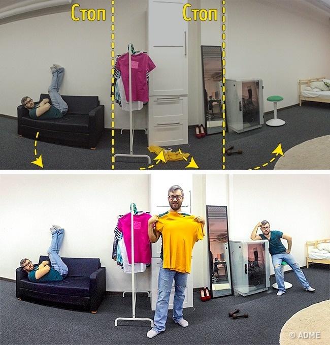 Используйте функцию панорамной съемки, чтобы создать двойников наодной фотографии без использования