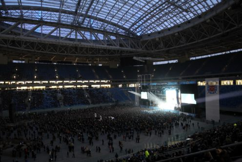 Крыша стадиона «Зенит-Арена» протекла впроцессе концерта