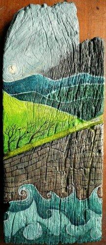 Рисунки природы на деревянных досках