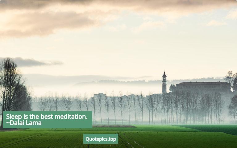 Sleep is the best meditation. ~Dalai Lama