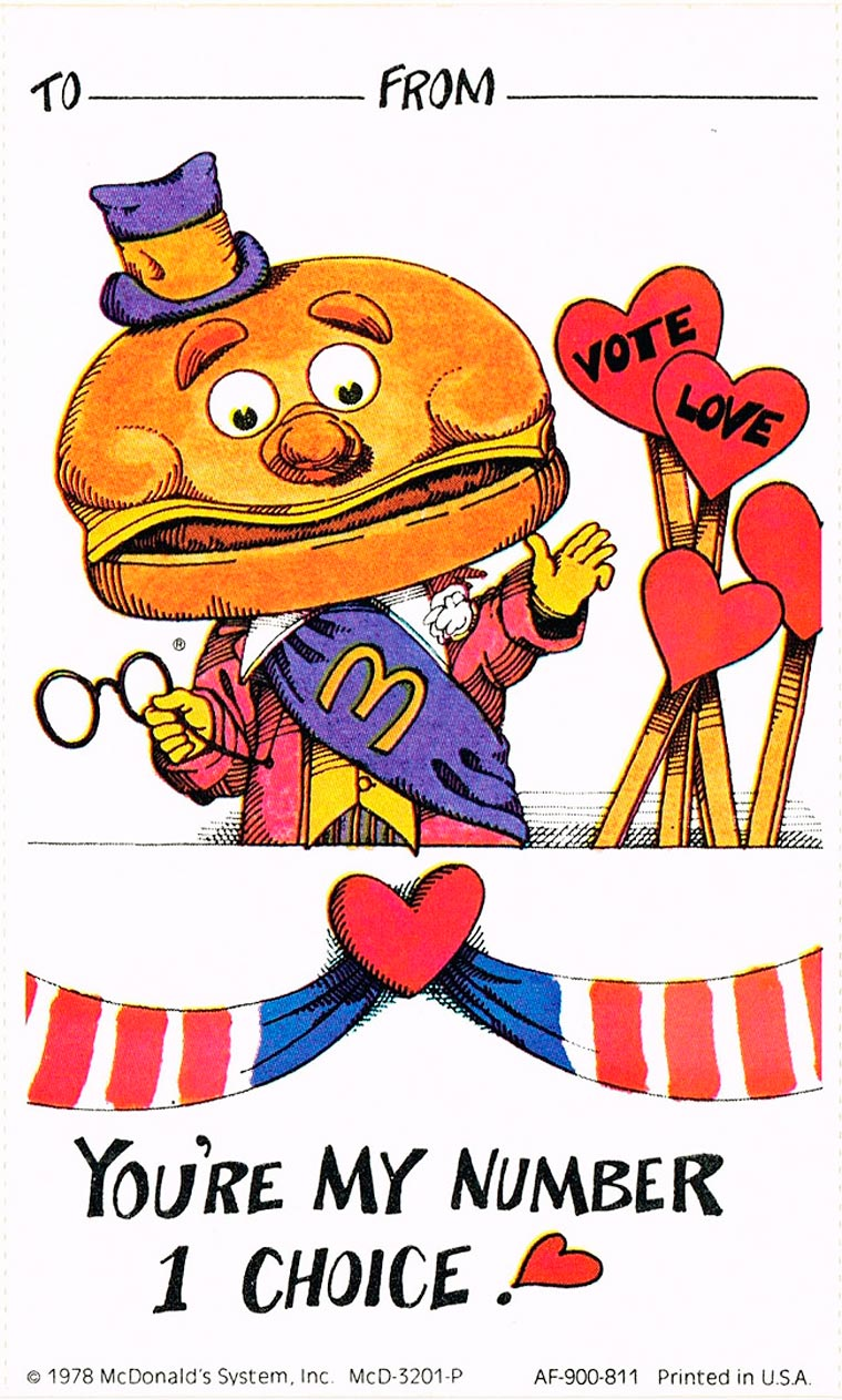 When McDonald's was editing cards for Valentine's Day in 1978
