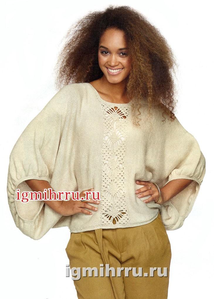 Песочный пуловер с ажурной вставкой. Вязание спицами и крючком
