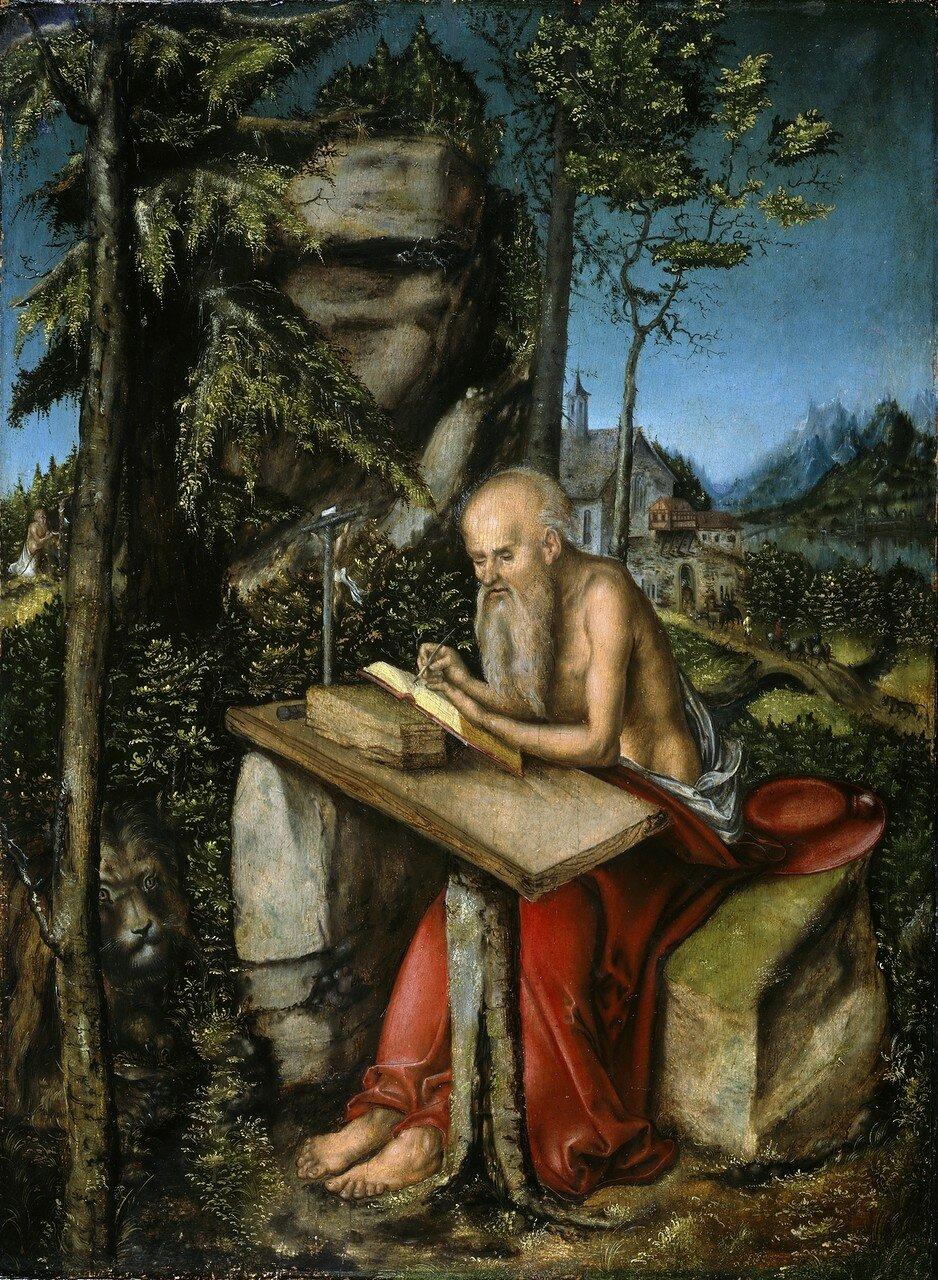 Святой Иероним в скалистом пейзаже (St. Jerome in Rocky Landscape)_ок.1515_49 х 35_д.,м._Берлин, Картинная галерея старых мастеров.jpg