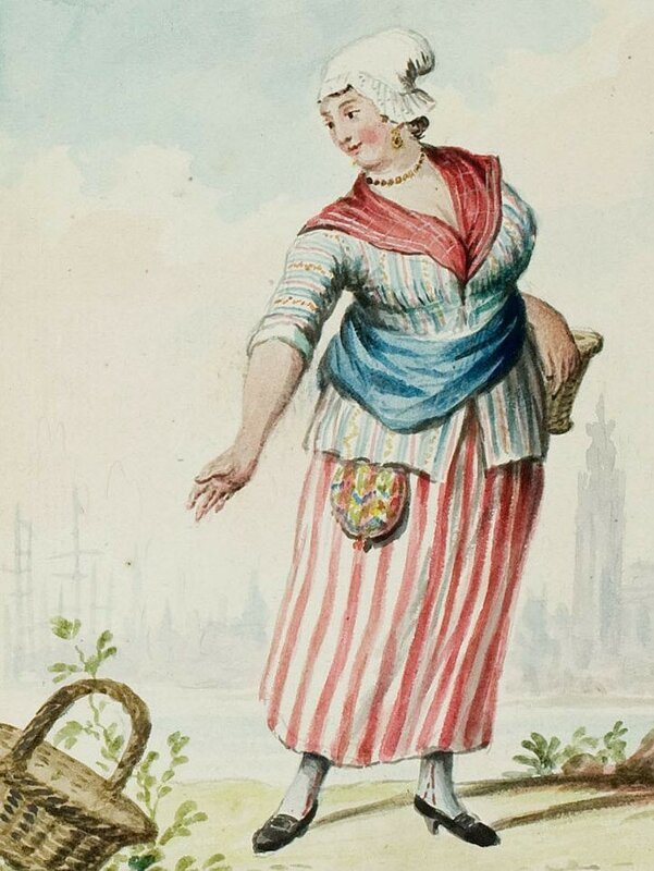 1770s-18th-century-womans-outfit-with-mixed-print-fabrics-jacket-in-stripes-with-flowers-in-between-stripes-skirt-in-stripes-neckerchief-in-plaid-checks.jpg