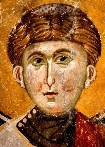 """Святой Мученик Архидиакон Евпл Катанский. Фреска церкви Святых Космы и Дамиана (""""Малые Святые Врачи"""") в Охриде, Македония. Около 1350 года."""