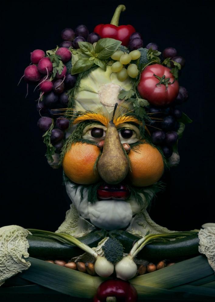 Польская художница создаёт причудливые портреты в стиле Арчимбольдо из настоящих овощей и фруктов (8 фото)