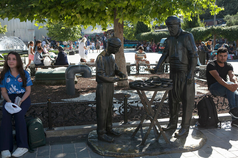 Bronze statue of simit seller Eminonu, Istanbul