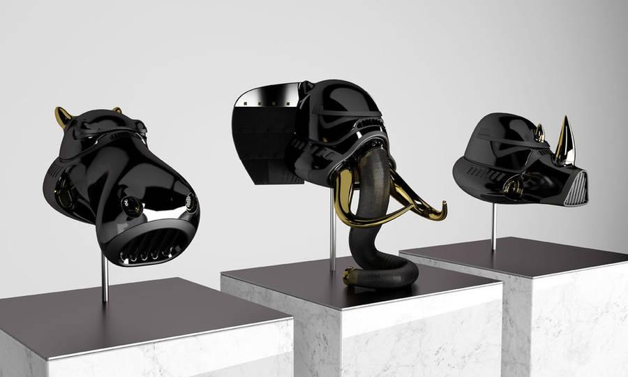 Animal Head Sculptures with Stormtrooper Helmet