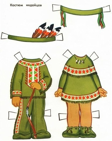 Костюмы народов мира для бумажных кукол