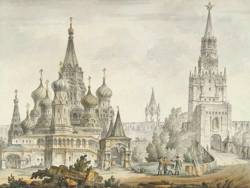 452267 Покровский собор и Спасские ворота на рисунке Дж. Кваренги 1797.jpg