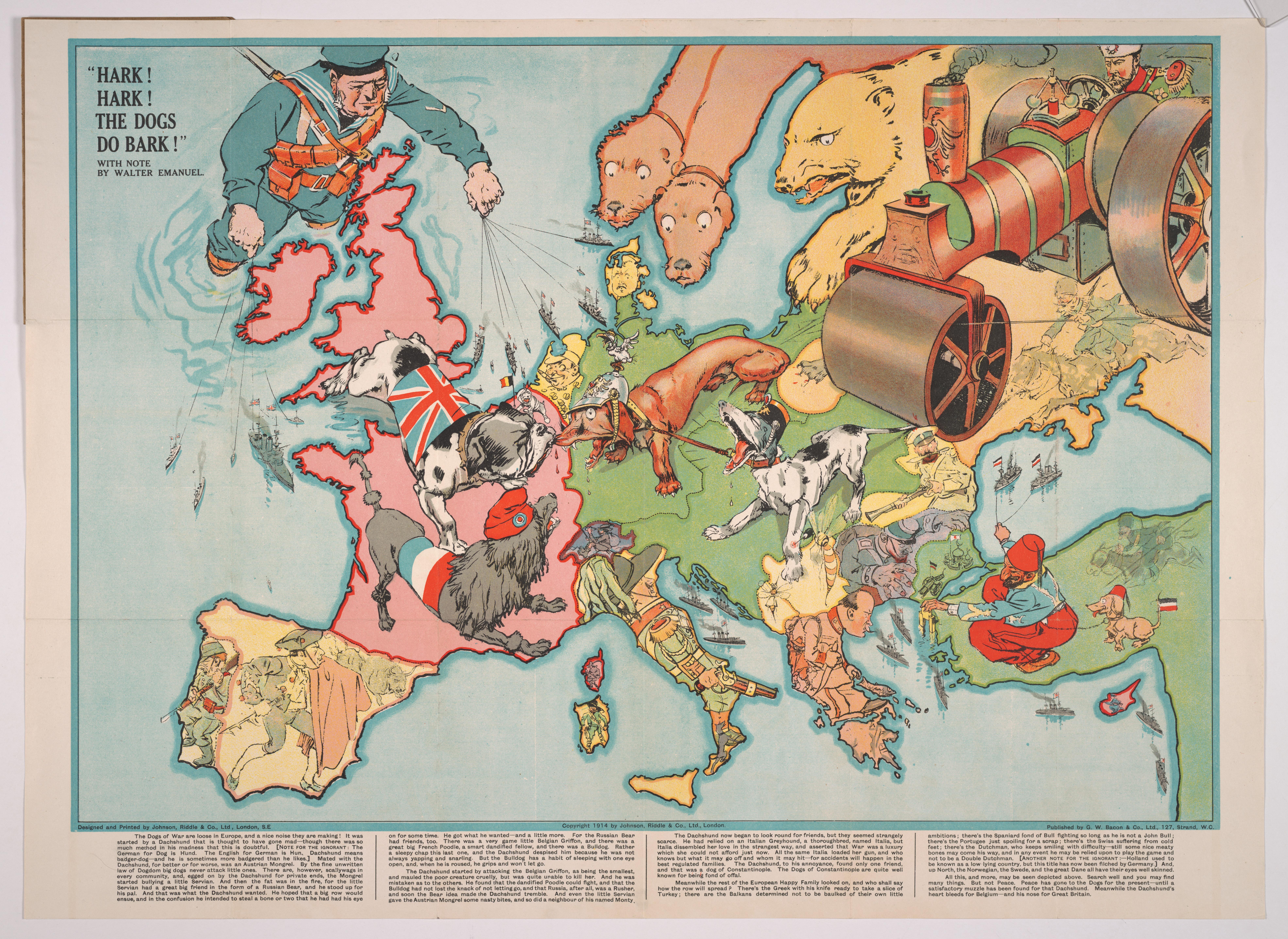 Ату! Ату! Все собаки лают! Сатирическая карта Европы начала Первой мировой войны. 1914