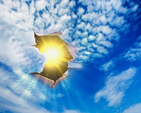 Открытки. 3 мая День Солнца! Солнце выглядывает в дырку!