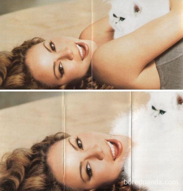 Мэрайя Кэри и очень пушистая кошка.