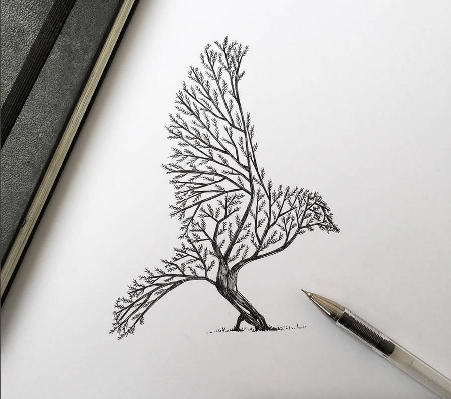 Poetic Surreal Black Ink Pen Illustrations