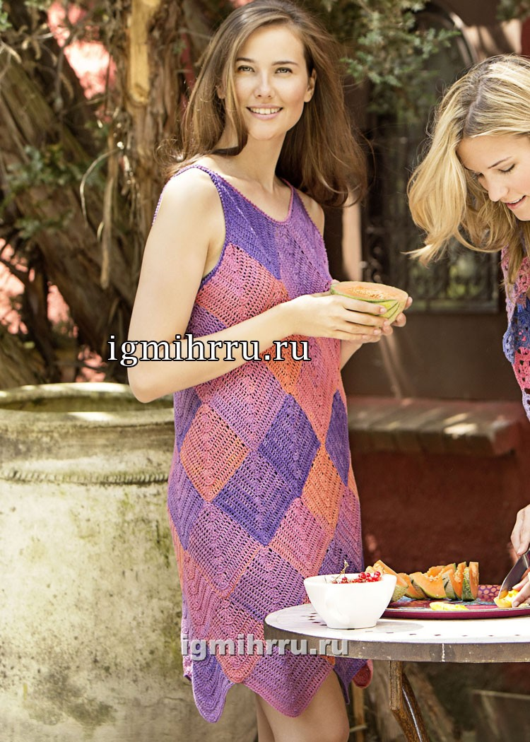 Летнее легкое платье с мотивами из ромбов. Вязание крючком