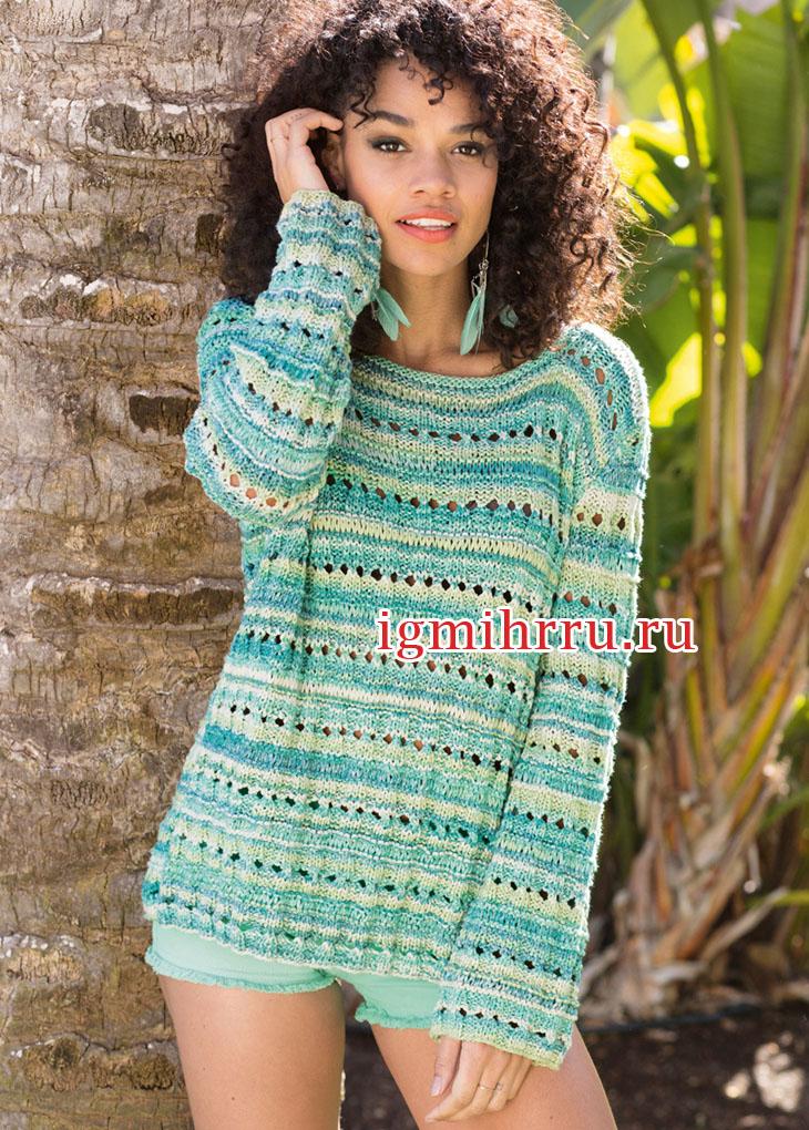 Летний пуловер из пряжи секционного крашения, с дырочками. Вязание спицами
