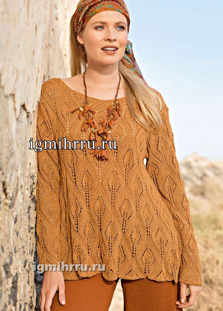 Легкий расклешенный пуловер с узором из листьев. Вязание спицами