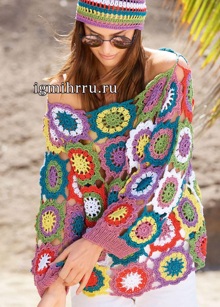 Летний пуловер из цветочных мотивов. Вязание крючком
