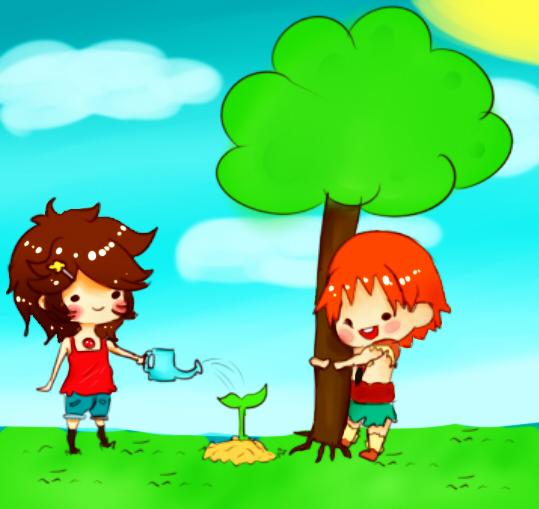 14 мая День посадки леса. Мальчик и девочка поливают дерево