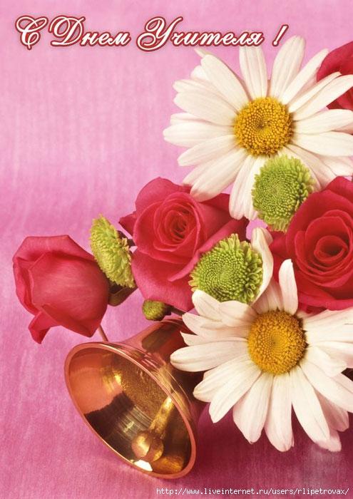 Открытки. День Учителя!  Ромашки и розы открытки фото рисунки картинки поздравления