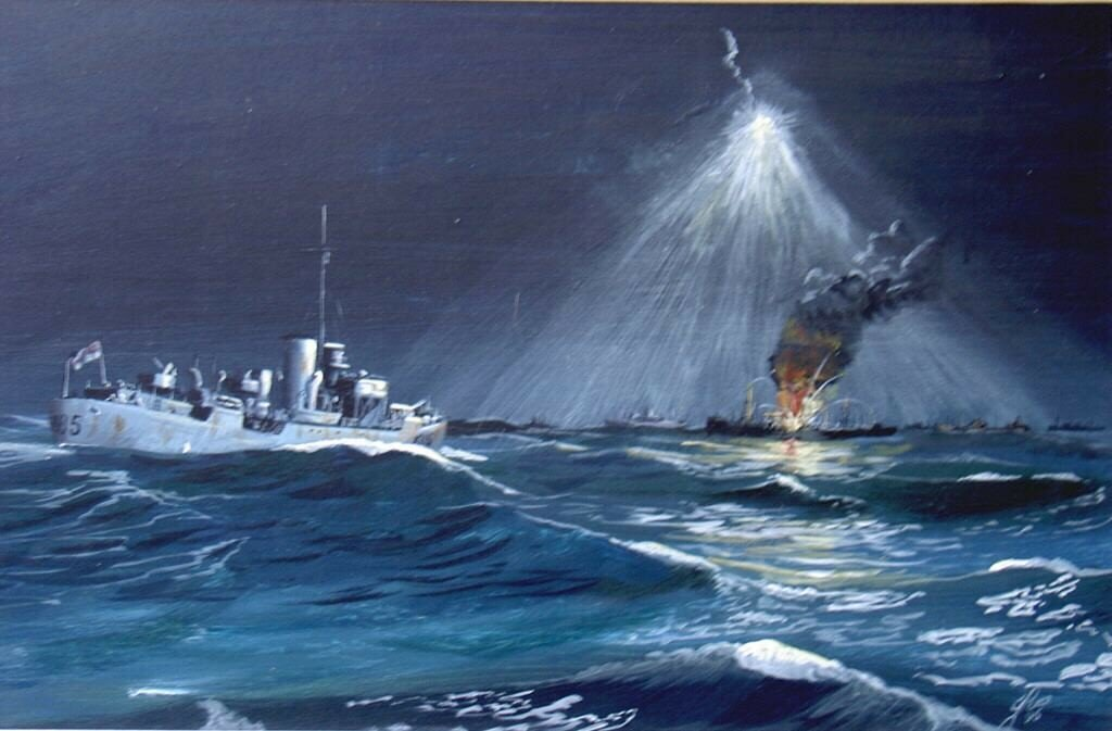 A Flower in the Night. Flower class Corvette heads towards a torpedoed Merchand Ship under a Star Shell flare. Painted about 1996.