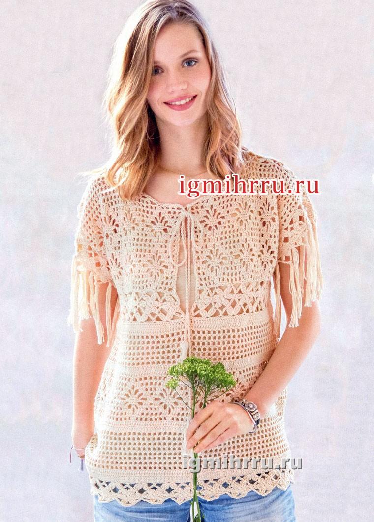 Женственный бежевый пуловер с миксом узоров. Вязание крючком