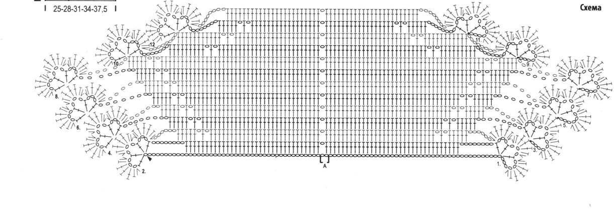 Схема вязания ажурного шарфа 74