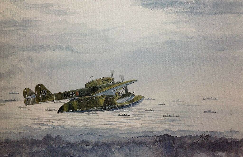 Blohm and Voss BV138 shadowing a convoy.