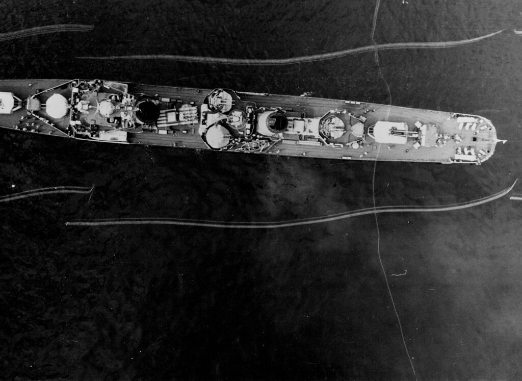 Aerial overhead view of a Soviet KOTLIN Class Destroyer, photographed at 1000 hours Zulu time 10 May 1963 from an altitude of 650 feet in the Kattegat, in the Western Baltic Sea. The ship was wearing pennant number 018 at the time of this photography.