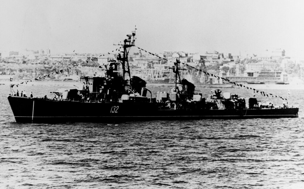 Soviet SKORYY Class Destroyer photographed during late 1961 probably at a Black Sea port.