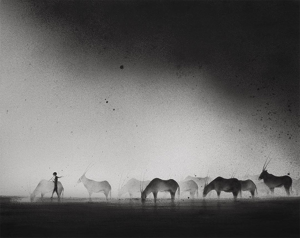 Hazy Black Watercolor Paintings of Children with Animals (10 pics)
