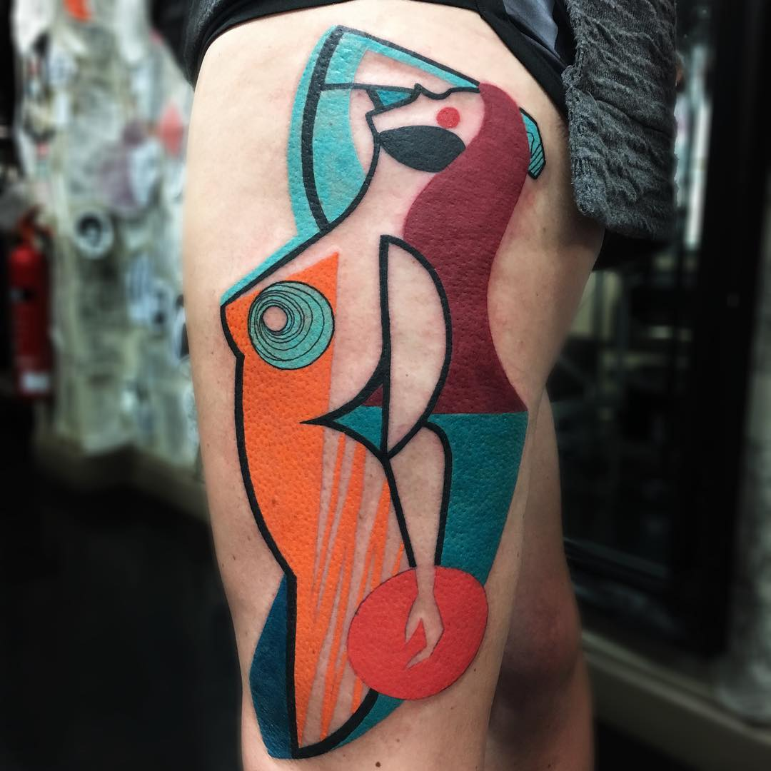 Colorful Cubist Tattoos Inked by Mike Boyd