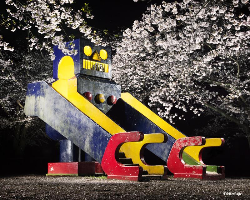 Photos of Japanese Playground Equipment at Night by Kito Fujio