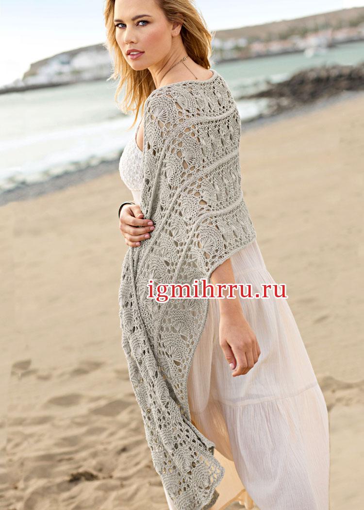 Палантин песочного цвета с крупным ажурным узором. Вязание спицами