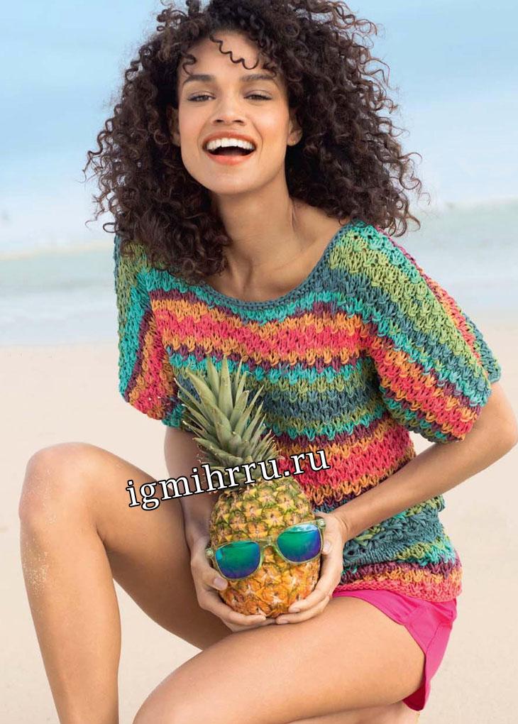Летний пуловер из разноцветной пряжи секционного крашения. Вязание спицами