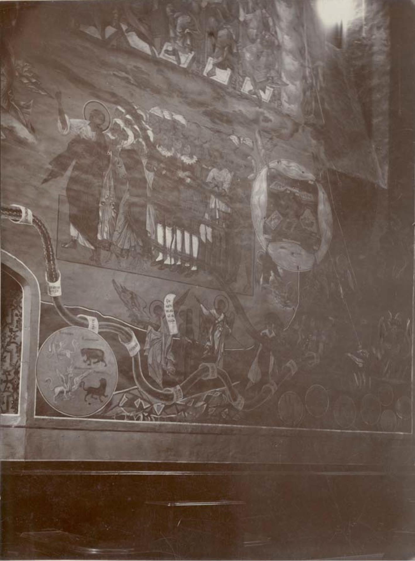 Княгинин монастырь. Древние фрески стенной иконописи XIII века в Успенском женском монастыре, на западной стороне. Фреска «Страшный суд» в Успенском соборе.Мелехов Я.Я. 1890-е гг.