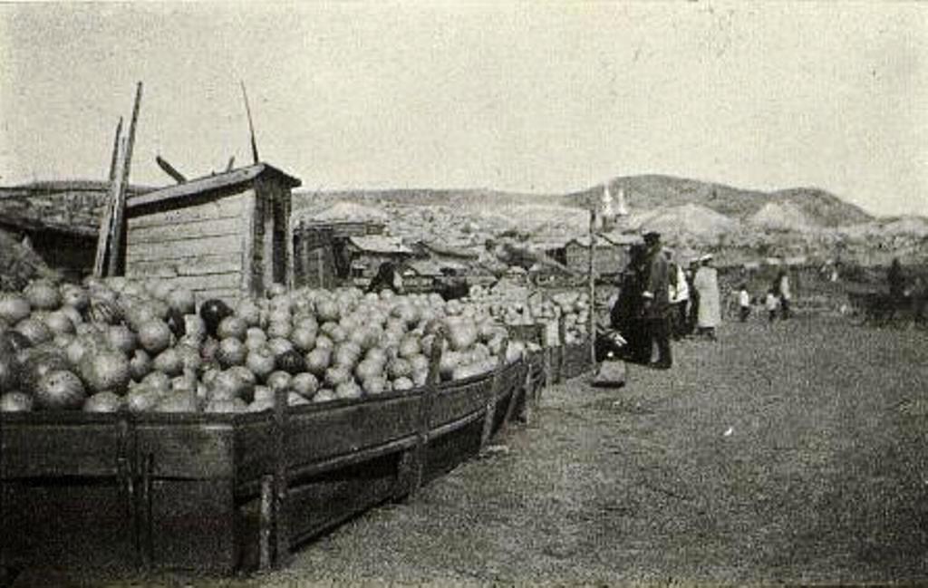 Торговля арбузами у пристани