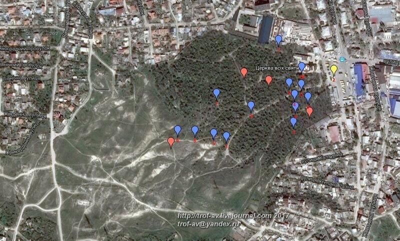Старое кладбище Феодосии на спутниковой карте с метками фото