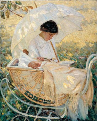 Молодая мать в саду Мэри Кассат (Mary Cassatt)