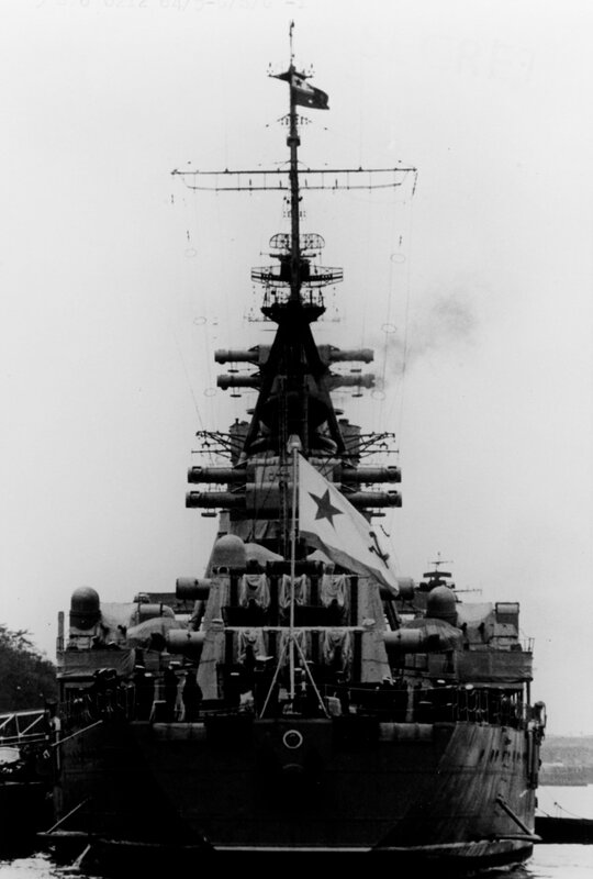 Stern view of a Soviet CHAPAYEV Class Cruiser, photographed during 1964 in the Baltic Sea Area.
