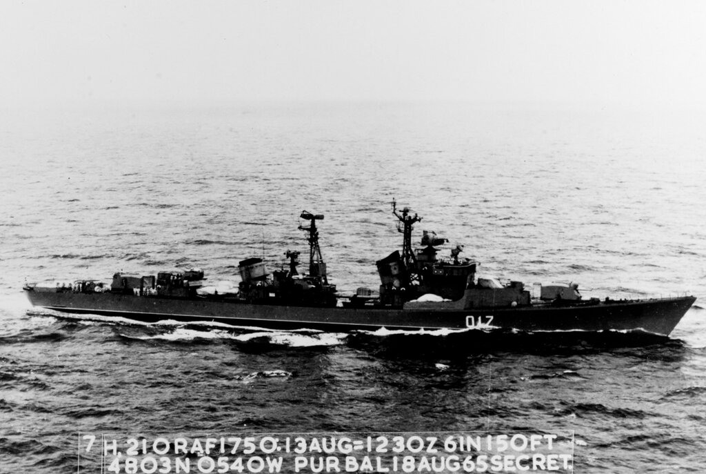 Soviet KOTLIN Class Destroyer Photographed at 1230 hours Zulu time 13 August 1965 in position 48-03 north, 05-40 west in the western approaches to the English Channel.