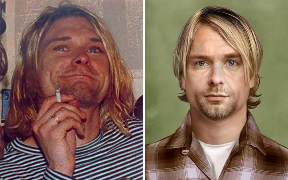 Курт Кобейн (20 февраля 1967 — 8 апреля 1994), гитарист и автор песен, вокалист группы Nirvana , исп