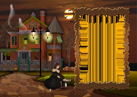 Фоторамка на Хэллоуин с ведьмой у заброшенного особняка ночью